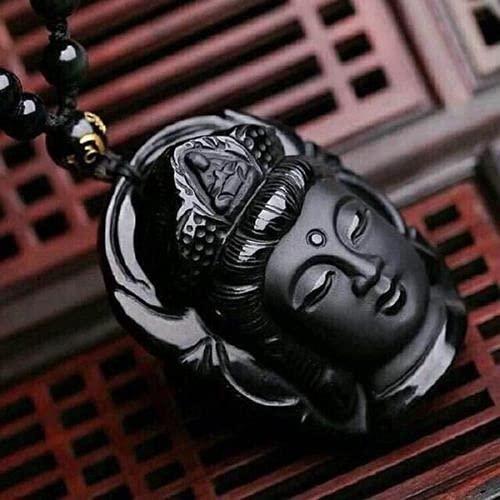 GOLD XIONG PADISHAH Natural Obsidian Buddha (Guanyin) Pendant Necklace (Black)