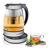 NutriChef Electric Glass Water Kettle - 1.7L Original Clear Digital Automatic Heater Warmer Kit Set w/Temperature Control, Timer, LED, Lid Cover, Accessories - For Boiling, Brewing Hot Tea - PKTM15