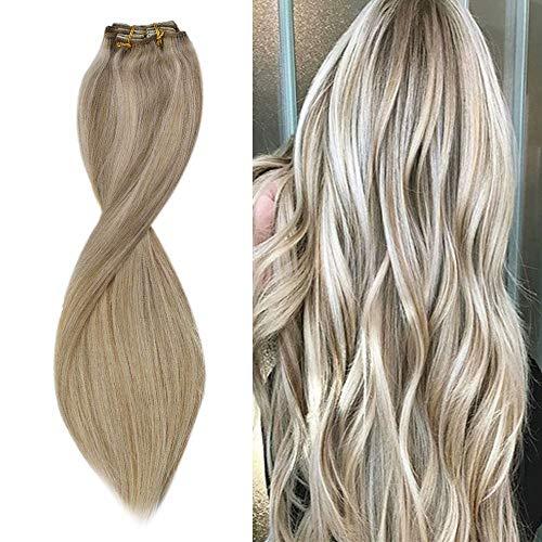 Sunny Clip Extension Cheveux Bresilien Naturel Blond Highlight Tête Pleine 7pcs/120g Double Trame Clip in Human Hair Extensions 100% Cheveux Humains 22 Pouces