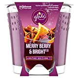 Glade (Brise) Duft-Kerze im Glas, Merry Berry & Bright (Rote Beeren, Glühwein, Zimtstangen), bis zu 30 Stunden Brenndauer, 6er Pack (6 x 129g)