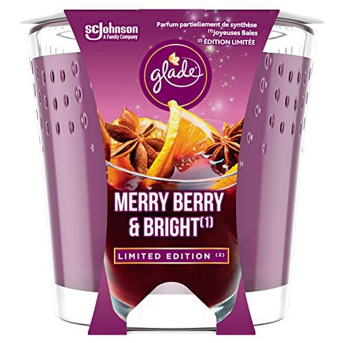 Glade (brise) Candela profumata in vetro, Merry Berry & Bright (bacche rosse, vin brulé, bastoncini di cannella, durata fino a 30 ore, confezione da 6 (6 x 129 g)