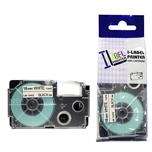 LM Tapes - Casio KL-8100 18mm Black on White Compatible Label Tape for Casio KL8100 EZ Label Printer