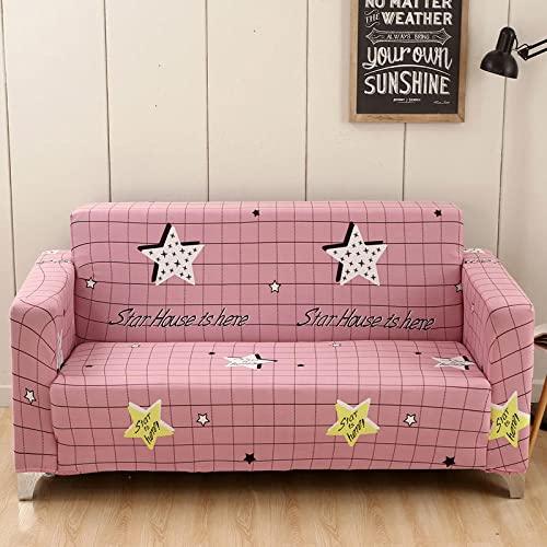 Fundas Sofa Elasticas 4 Plazas Estrellas De Celosía Rosa Funda Elastica Sofa Chaise Longue Fundas Sofa Rinconera con Respaldo Ajustable Antideslizante Protector de Muebles (235cm-300cm)