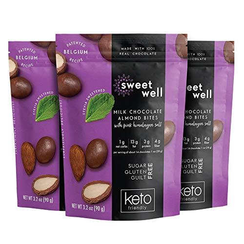 Sweetwell Keto Milk Chocolate Almond Bites, Sugar-Free Chocolate Treats, Stevia-Sweetened Chocolate Snacks (3-Pack)