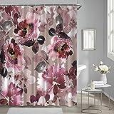 Duschvorhang mit roten Rosen, Weinrot, Vintage, Kastanienbraun, Blumen, Aquarellstoff, Duschvorhänge für Badezimmer, wasserdicht, 183 x 183 cm