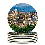 Juego de 6 posavasos para bebidas absorbentes de cerámica con base de corcho, diseño de ciudad de Roma, Italia
