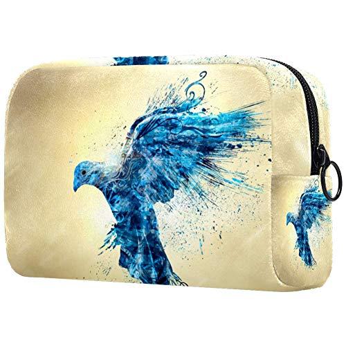 Abstract Sac de maquillage portable imprimé oiseau bleu