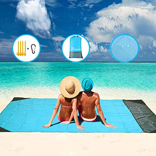 Brillirare Sandfree Beach Blanket, Oversized Waterproof Sandproof Picnic Blanket, Quick Drying Lightweight Family Mat with 4 Stakes&4 Corner Pockets...