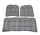 Resort Spa Home Decor 3 Piece Wicker Cushion Set - Black Plaid/Country Checkered/Checkerboard Indoor Cotton Fabric Cushion for Wicker Loveseat Settee & 2 Matching Chair Cushions