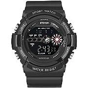 ETEVON Mens' 'Batman' Waterproof Digital Wrist Watch - Alarm LED Light Stopwatch Date - Outdoor Sport Electronic Watches for Men,Wristwatch for Men Teenagers (Black)