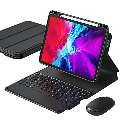 WYZDQ Teclado con Trackpad Funda para iPad Pro De 11 Pulgadas 2021, Funda Protectora Desmontable para Tableta De 360 ° con Portalápices, Case Soporte De Tres Pliegue,Negro