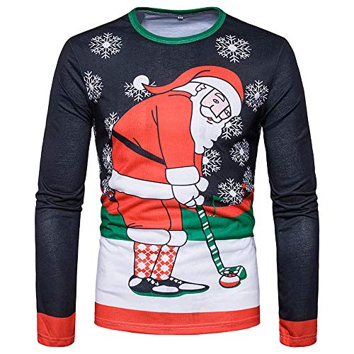 Best Price ZIAxiav Mens Ugly Christmas T-Shirt, Santa Claus Play Golf Crewneck Long Sleeve Top Blous...
