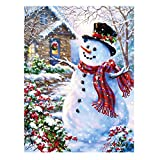 """Wamika Welcome Winter Snowman Garden Flag 28"""" x 40"""" Merry Christmas Holiday Snow Snowflake Double Sided Outdoor Flag Poinsettia Wreath New Year Rustic Xmas Garden Yard House Decorations"""