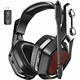 Mpow Iron Pro Wireless Gaming Headset for PC, PS4,Xbox, Wired 3.5mm & Wireless USB Connection Over-Ear Headphone with Surround Sound, Noise Cancelling Mic, 20H Battery Life, Soft Memory Earpad for PC/