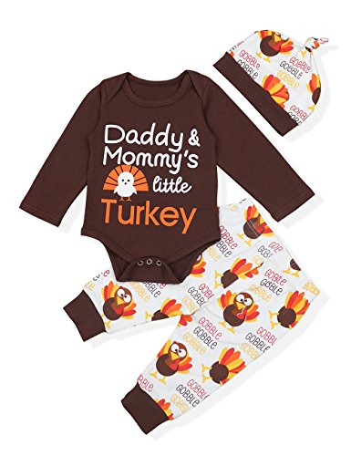 Baby Thanksgiving Outfit Newborn Boy Girl Letter Print Romper Turkey Print Pant with Hat Clothes Set(0-3 Months) Brown