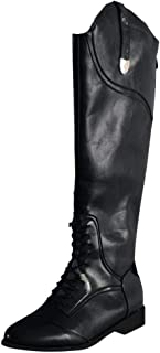 Women's Knee High Boots Round Toe Low Heeled PU Waterproof Rain Boots Retro Vintage Over The Knee Biker Boots