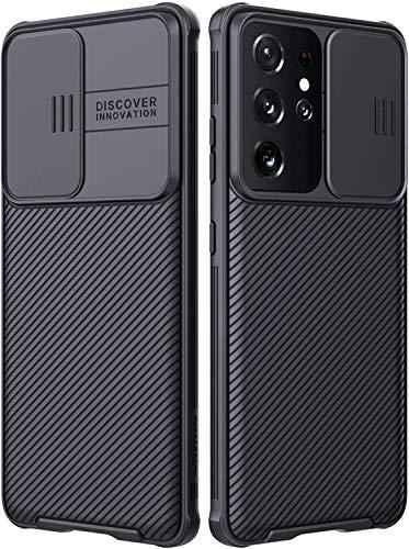 Funda Compatible con Samsung Galaxy S21 Ultra 5G, Protección de Cámara Carcasa Compatible con Samsung S21 Ultra 5G, Rosyheart Cubierta Deslizante Cámara Delgado Ligera Rígida PC Anti-Golpes Caso-Negro