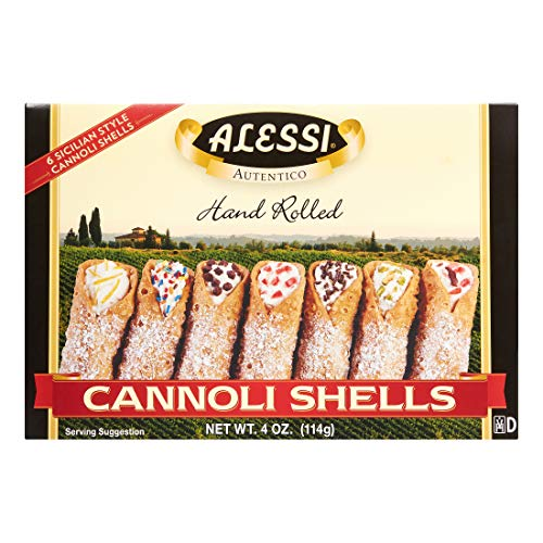 ALESSI CANNOLI 12 Large Sicilian Style Hand Rolled Shells Imported from Italy 2 Pack- 4oz (2)