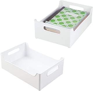 mDesign Stackable Plastic Home Office Storage Bin Container, Desk and Drawer Organizer with Handles for Storing Gel Pens, Erasers, Tape, Pencils, Highlighters, Markers - 2 Pack - White photo