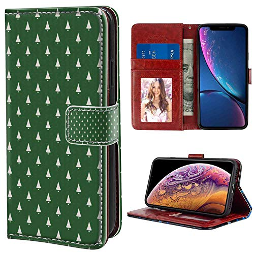iPhone Xs Max Wallet Case, Christmas Continuous Pattern of Hand Bells for New Year's Eve Noel Celebration Theme Green and White PU Leather Folio Case with Card Holder and ID Coin Slot