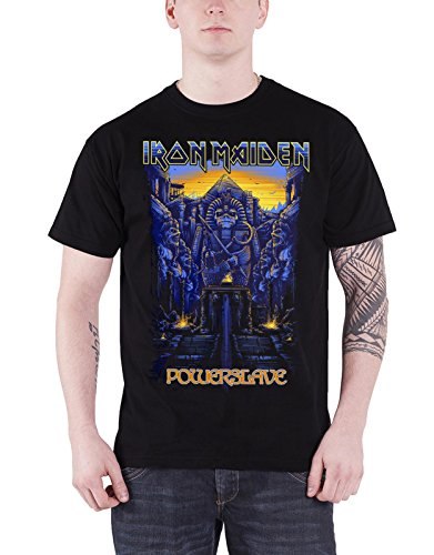 Iron Maiden T Shirt Powerslave Dark Ink band logo Nue offiziell Herren Schwarz