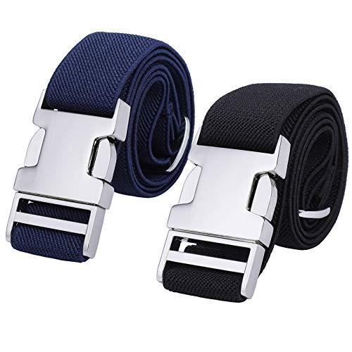 2PCS Children Boys Zinc Alloy Belts - Easy Clasp Adjustable Buckle Belt for Toddlers Boys Girls (Navy Blue/Black)