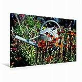 CALVENDO Premium Textil-Leinwand 120 x 80 cm Quer-Format Blick in den Garten, Leinwanddruck von niceimage