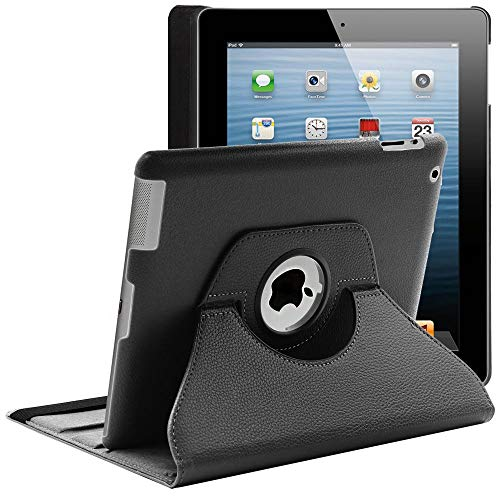 ebestStar - kompatibel mit iPad 4 Hülle Retina, iPad 3, iPad 2 Rotierend Schutzhülle Etui, Schutz Hülle Ständer, Rotating Hülle Cover Stand, Schwarz [iPad: 241.2 x 185.7 x 9.4mm, 9.7'']