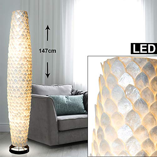 Design Steh Leuchte Strahler weiß perlmutt Muschel Stand Lampe im Set inkl. LED Leuchtmittel