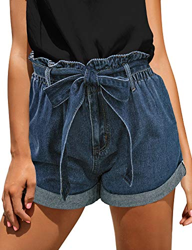 luvamia Women's Casual High Waisted Rolled Hem Denim Shorts Bowknot Tie Waist Jean Shorts with Pockets Blue Size Large