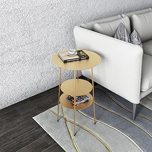 ZQS Mesa Auxiliar de Sofá de Sala de Café, Mesa de Centro, Mesa Redonda pequeña, Mabante de Mesa de Noche de Hierro Forjado (Color : Gold)