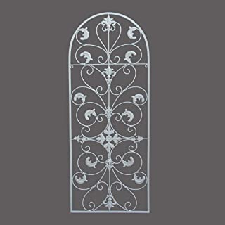 GB HOME COLLECTION Metal Wall Decor, Decorative Victorian Style Hanging Art, Steel Decor, Window Arch Design, 16.5 x 41.5 Inches, White