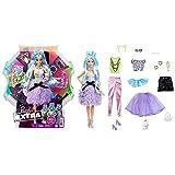 Barbie Extra Deluxe Muñeca articulada con pelo azul y 30 looks con ropa para muñecas, accesorios de juguete y mascota (Mattel GYJ69)