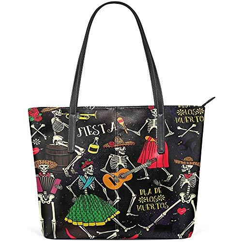 G.H.Y Dia De Los Muertos Gitarre PU Leder Schultertasche Handtasche für Frauen Mädchen