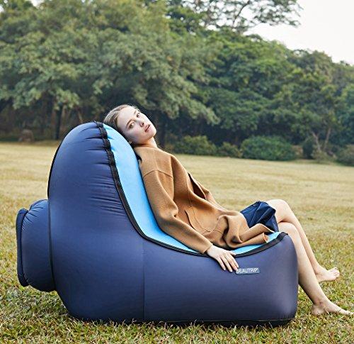 BEAUTRIP Tome un cómodo Asiento Sillón Inflable al Aire Libre - Increíble diseño ergonómico Sofá con Tumbona - Ideal para sillas de Picnic/Camping/Playa, hamacas de Aire