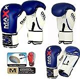 Maxx Boxhandschuhe für Kinder und Erwachsene, Rex-Leder, Blau/Weiß, 227 g
