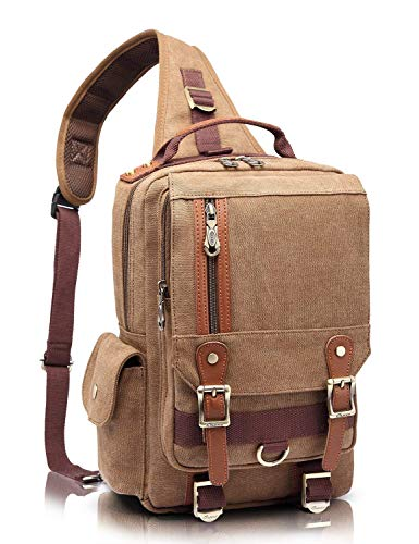 KAUKKO Canvas Leather Crossbody Messenger Bag One Strap Sling Travel Hiking Chest Bag Khaki