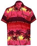 LA LEELA   Funky Camicia Hawaiana da Uomo   Maniche Corte   Tasca Frontale   Stampa Hawaiana   Spiaggia Palme Stampato Rosso_W348 4XL - Torace (in CMS) : 162-167