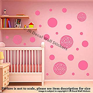 45 pieces Rose Polka Dot Wall Stickers Multi size dot Removable Vinyl Wall Decals, Circle Wall Decals, Kid's Room Decor, Girls Bedroom Decor, Nursery Room Vinyl Wall Stickers