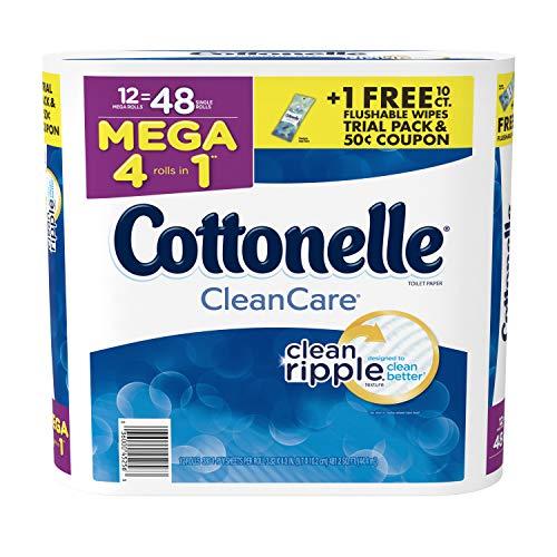 Cottonelle CleanCare Toilet Paper, 12 Mega Rolls, Strong Bath Tissue