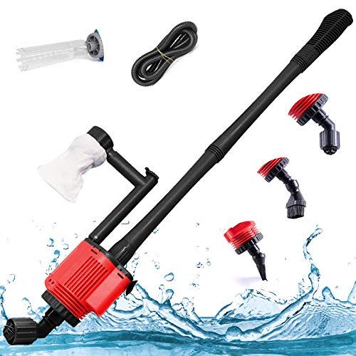 Elektrischer Aquarium-Reiniger, 6-in-1 Aquarium-Kiessauger-Kit mit verstellbarem Wasserdurchfluss-Regler, Siphon-Pumpe, Wasserfilter-Reinigungswerkzeug für Wasserwechsel und Filterkiesreinigung