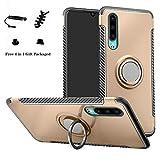 LFDZ Huawei P30 Custodia, Resistente TPU Case Design 360 Grado Rotazione Protective Custodia Cover per Huawei P30 Smartphone (Non Compatibile con Huawei P30 PRO / P30 Plus),Gold