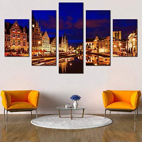 KOPASD 5 Piezas Lienzo Grandes murales 5 Partes Impresión Artística Imagen Graslei Bélgica Azul Cielo Nublado Moderno Sala Decorativos para el hogar-Sin Marco-150 * 80cm