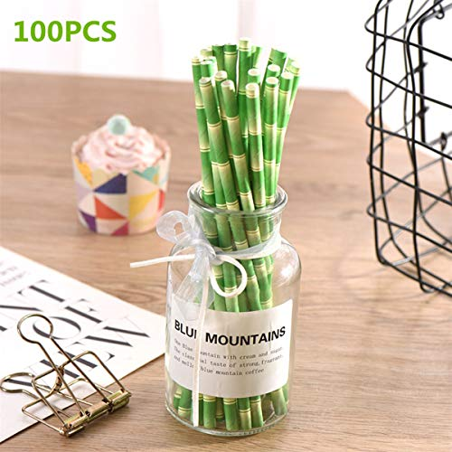 Yuxiale 100PCS Bamboo Drinking Paper Straws 7 3/4 Inches Biodegradable Straws for Hawaiian Summer Luau Party Birthday,Wedding,Celebration Parties Eco-Friendly