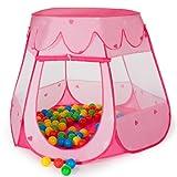 TecTake Childrens pop-up play tent + 100 balls + bag (Pink)