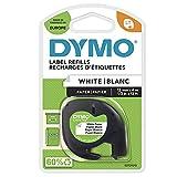 DYMO LetraTag etiquetas de papel | Negro sobre blanco | 12 mm x 4m Roll | para las etiquetadoras LetraTag | autoadhesivo | Paquete de 1