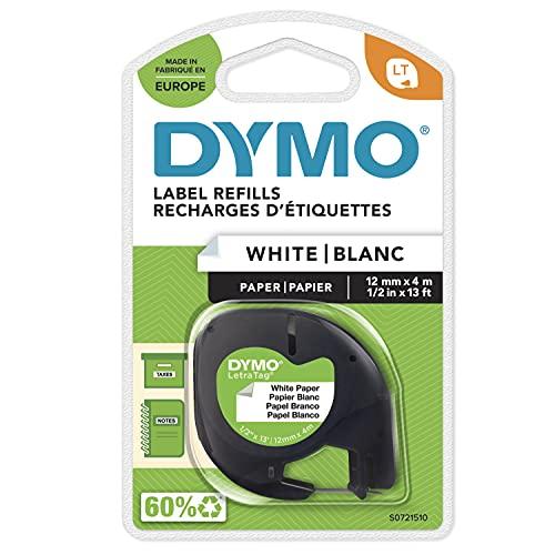 Dymo LetraTag etichette di carta autoadesiva, rotolo da 12 mm x 4 m, stampa nera su bianco, S0721510
