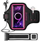 Galaxy Note 10+, 9, 8 Armband, JEMACHE Gym Run Workout Water Resistant Arm Band Case for Samsung Galaxy Note 8/9/10 Plus with Key Holder (Rosy)