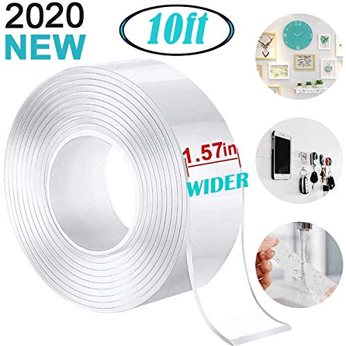 """UNIHAO Nano Double Sided Tape Adhesive Tape Mounting Tape 1.57"""" Width Traceless Washable Sticky Clear Tape Grip Tape Roll Removable Transparent Tape Gel Pads for Paste Poster, Fix Carpet Mats"""