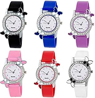 New Raiyaraj Embroidery Analogue Multicolour Diamond Studded Attractive Butterfly Girl's and Women's Watch-Combo Set of 6-NRE-171